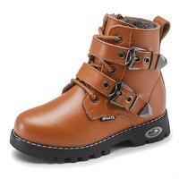 בני מגפיים באיכות גבוהה מגפי שלג ילדי עור אמיתי אופנה ילדים אבזם מגפי נעלי חורף חמות 2-14 שנים