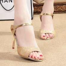 2017 summer new Korean princess high heels sandals female simple fish head shoes sexy thin with cool sandals shoes