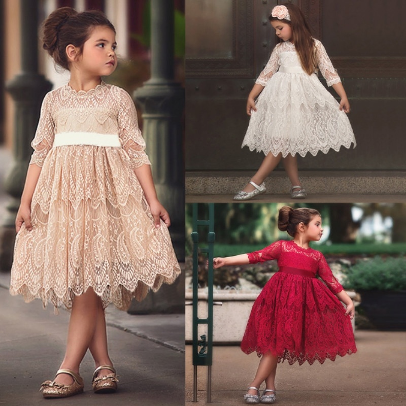 3-8 Summer New Lace   Flowers     Girls     Dresses   High Quality Child's Wear Toddler TuTu   Girl   Clothing Hollow Mesh Princess Kids   Dress