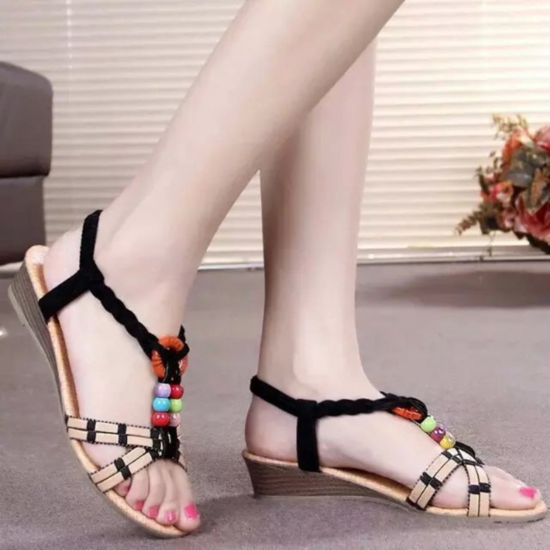 2017 Fashion Women Summer Female Shoes Sandals Beads Wedge Heel Beach Sandals String Back Elastic Band Slipsole New Flat With the new solid color colorful beads thick with sandals jewel adornment for women s shoes