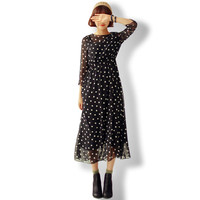 2016 Summer Maxi Dress Slim Sleeve Chiffon Polka Dot Dress Elegant Women Dress Vestidos Boho Style