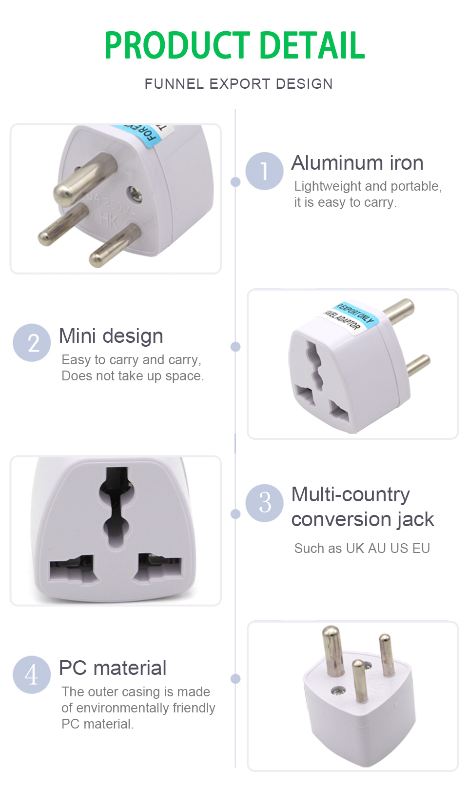 1PC 3 pin India Travel Converter Adaptor AC Power Multi Outlet Adapter Socket Universal UKUSEUAU to Small South Africa Plug (8)