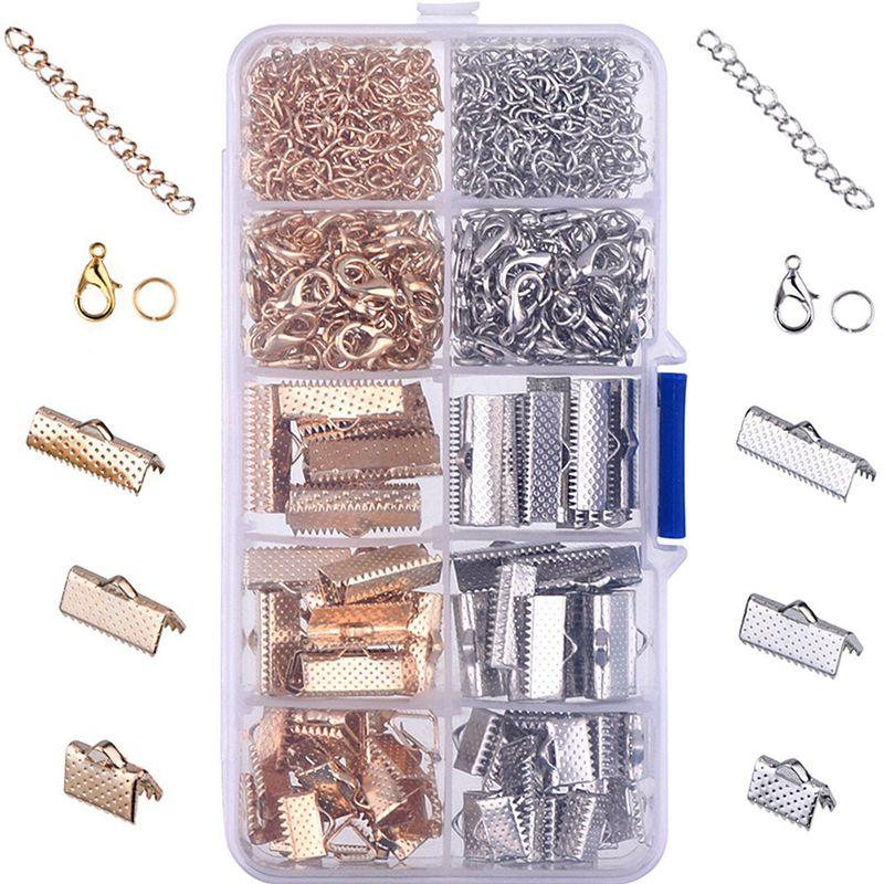Fita pulseira kit marcador pitada friso termina lagosta fechos com anéis de salto e extensores de corrente, 370 peças (multicolorido a)