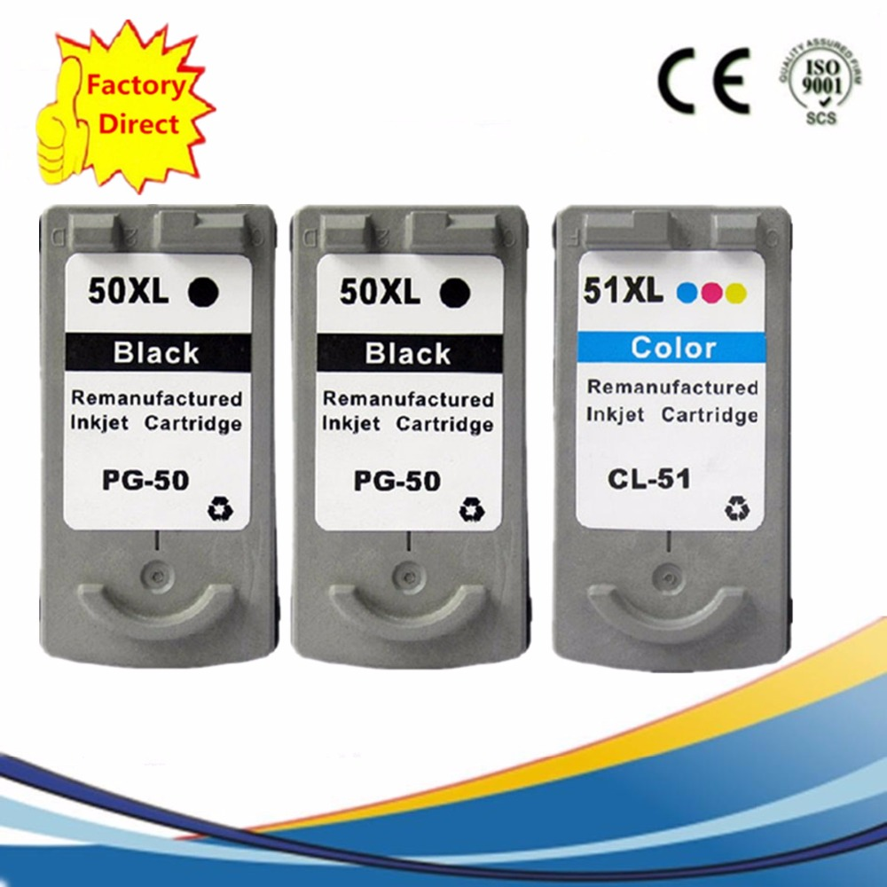 3 x PG-50 PG50 PG 50 CL-51 CL51 CL 51 Ink Cartridges For Canon Pixma iP2200 ip6220D ip6210D MP150 MP160 MP170 Inkjet Printer