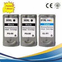 3 x PG-50 PG50 PG 50 CL-51 CL51 CL 51 Ink Cartridges For Canon Pixma iP2200 ip6220D ip6210D MP150 MP160 MP170 Inkjet Printer