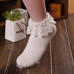 Женские Кружевные Гофрированные носки до щиколотки с оборками для девочек милые Винтажные белые носки принцессы в стиле ретро с цветочным ...