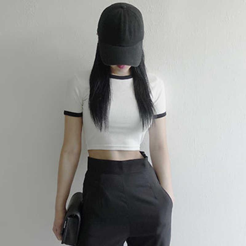 נשים קיץ יבול חולצות סקיני Slim Fit קצר שרוולים סביב צוואר סוודר חולצות NYZ חנות