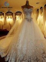 Fashion Wedding Dress White Sumptuous Full Rhinestone Bridal Gown 1 5m Train 3m Veil YH01 Costom