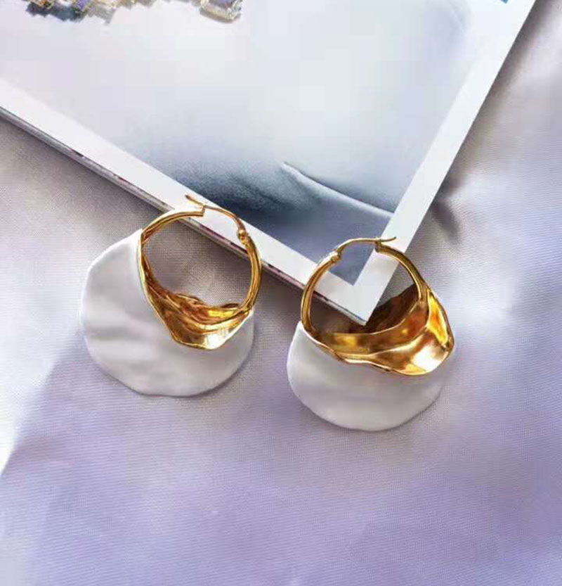 2018 Trendy Gold White Ceramic Big Circle Earrings For Women Fashion Large Earrings Jewelry
