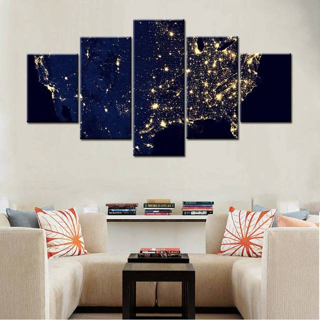 United States Map Canvas Wall Art.Airscape United States Map Nightscape Picture Wall Art Canvas Prints