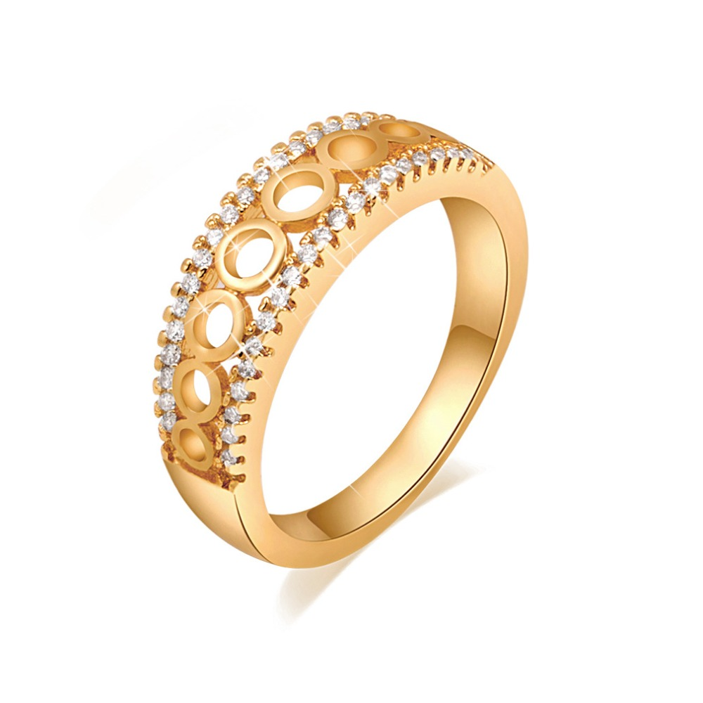 Korean Fashion Engraved Gold Brazold Ring For Women Small