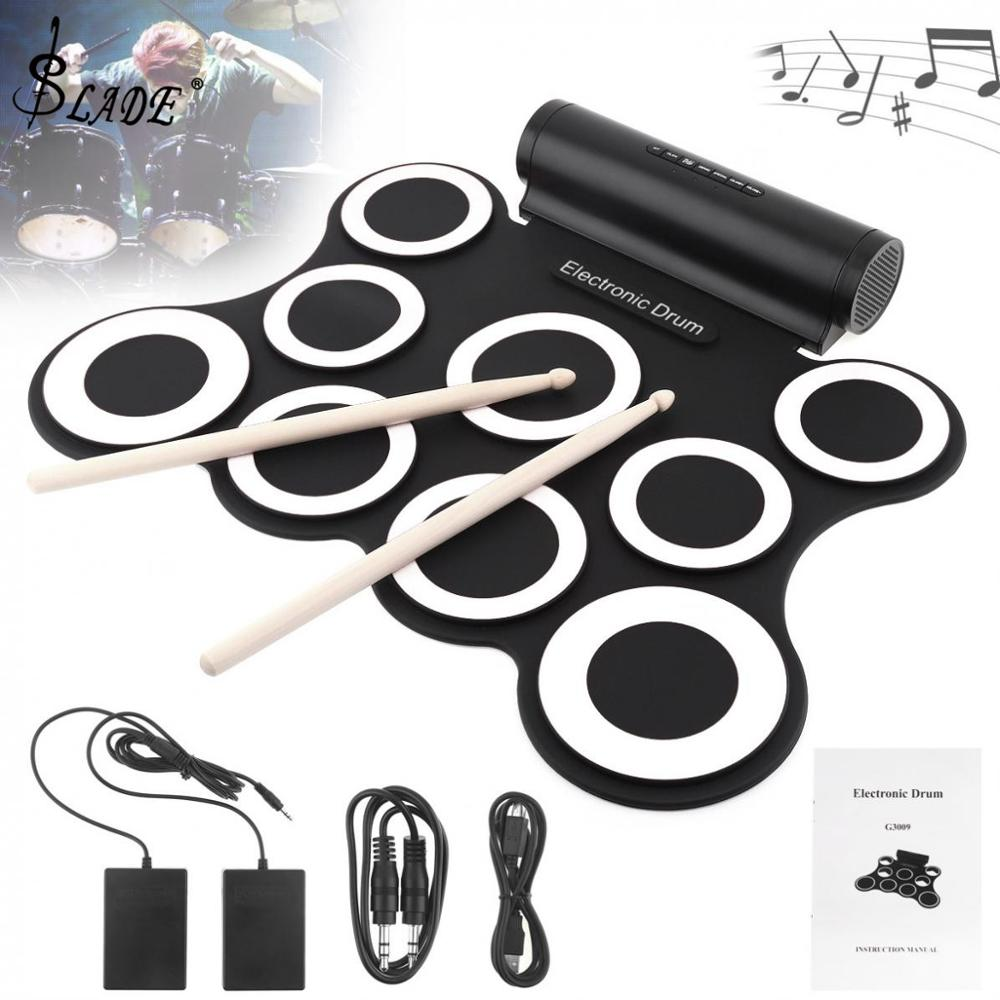 9 Pads Drum Electronic Roll Up Silicone MIDI Drum Double Speakers Stereo Electric Drum Kit with Drumsticks and Sustain Pedal9 Pads Drum Electronic Roll Up Silicone MIDI Drum Double Speakers Stereo Electric Drum Kit with Drumsticks and Sustain Pedal