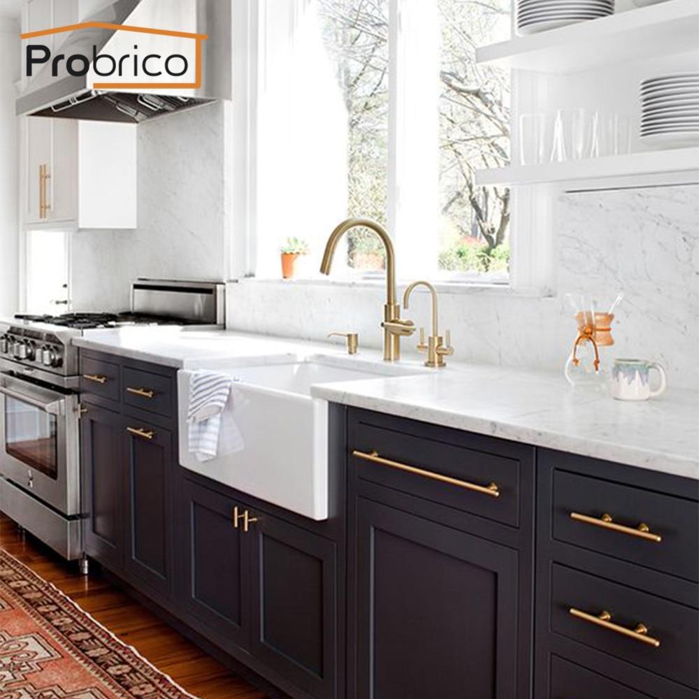 Probrico 15pcs Brushed Brass Golden Cabinet Handles 2 10 Kitchen
