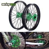 BIKINGBOY 21 19 Front Rear Wheel Rim Green Hub For KAWASAKI KX 125 250 06 13 KX 250 450 F 06 07 08 09 10 11 12 13 14 15 16 17