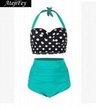Atejifey 2019 Sexy Halter Retro Bikini Set High Waist Swimwear Polka Dot bathing suit Push Up Bra Swiming Suit For Women