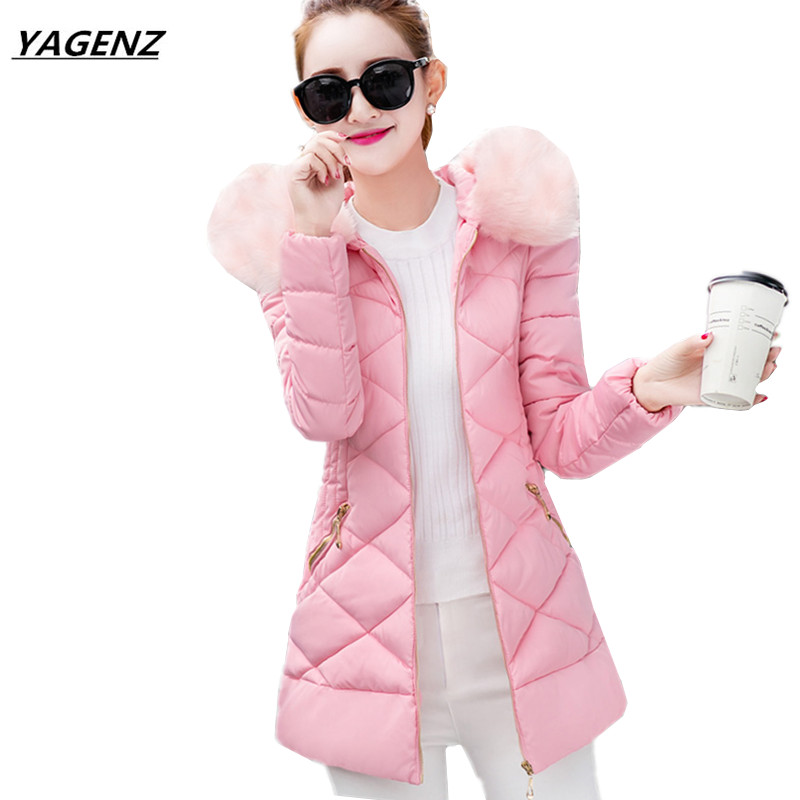 Winter Cotton Jacket Women Coat 2017 New Hooded Fur Collar Medium Long Outerwear Casual Warm Down Cotton Clothing YAGENZ K438 women down cotton jacket 2017 new detachable fur collar hooded down cotton winter coat solid warm feather outerwear coats fp0091