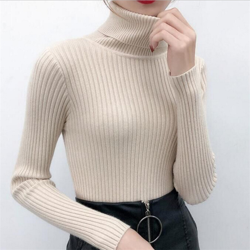 2019 Autumn Winter Women Sweater Knitted Turtleneck Sweater Casual Soft Jumper Fashion On Sale Femme Elasticity Pullovers