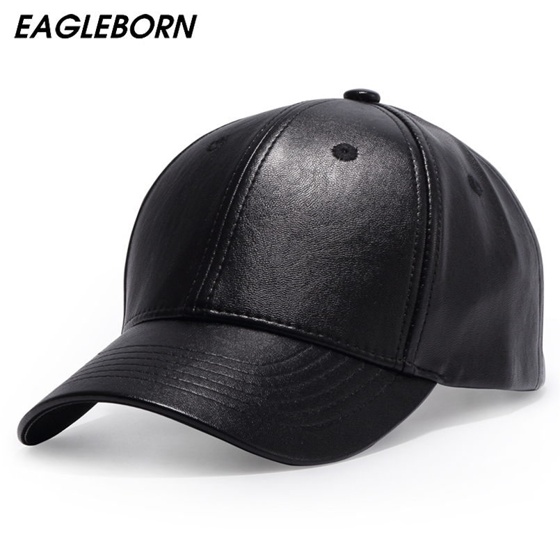 Vanlig New Men Baseball Cap Kvinner Solid Leather Snapback Cap Casquette Brand Justerbar Bone PU Hatter For Menn Vinter Baseball Caps