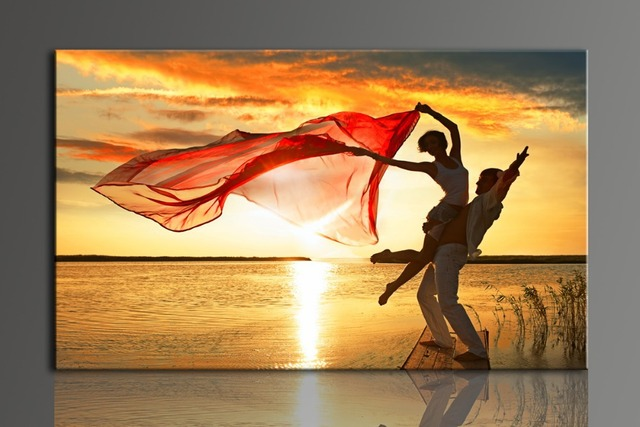 Aliexpress.com : Buy L700 Romantic dancing lovers, large HD canvas ...