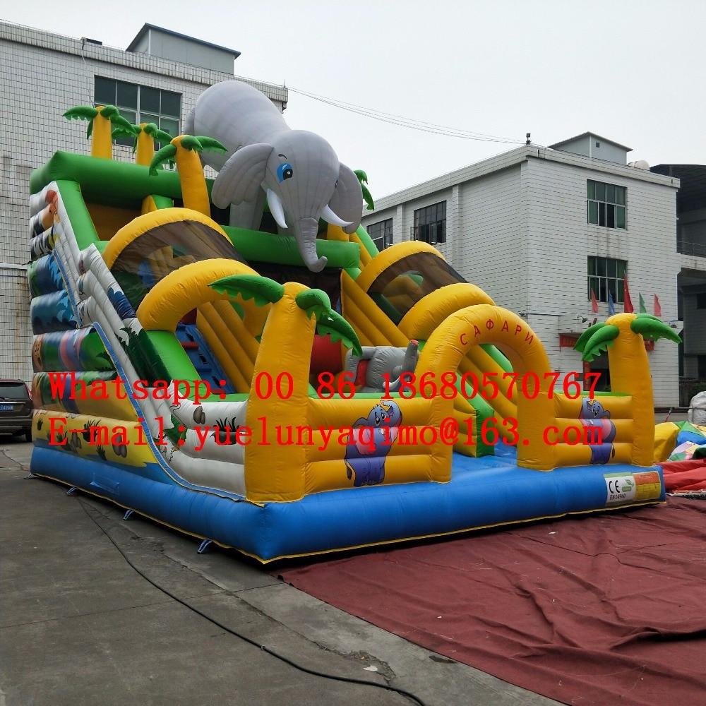 2017 Сафари парк тема надувной парк развлечений слон жираф Тигр Зебра надувные супер слайд для продажи