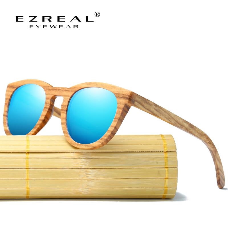 EZREAL 100% Natural Zebra Wooden Sunglasses Handmade Bamboo Sunglasses Polarized Mirror Coating Lenses Eyewear With Gift Box