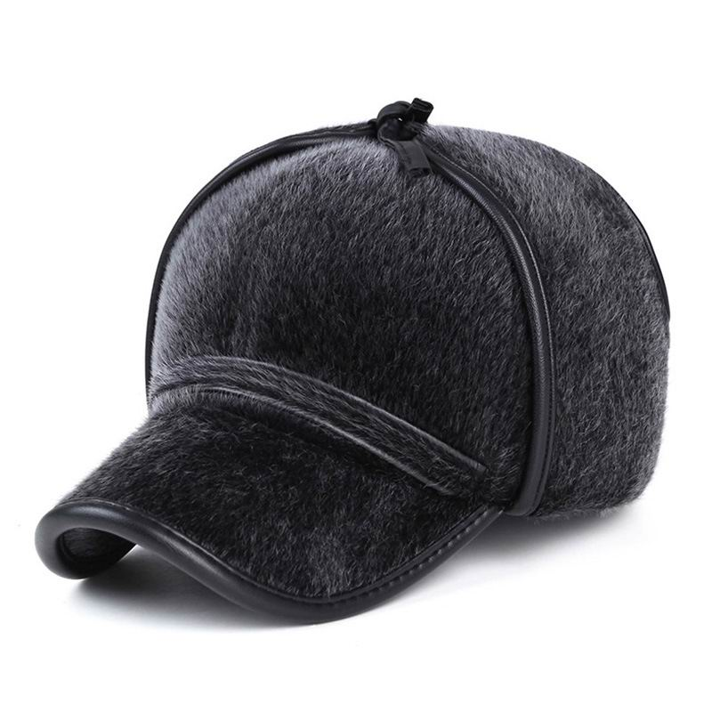 Thick Fur Winter Hat Fashion Mink Man Warm Baseball Cap Face Protection Windproof Outdoor Thermal Male Visor