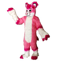 Pink Fox Husky Fursuit Mascot Costume Halloween Xmas Birthday Celebration Carnival Dress Full Body Props Outfit Party Costumes