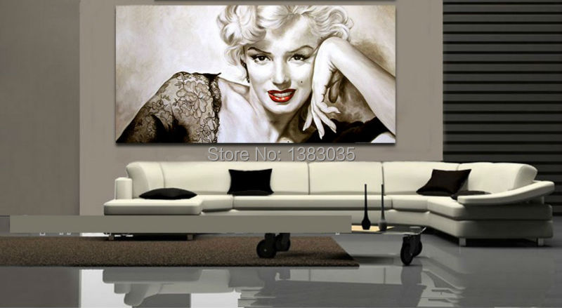 Awesome Hand Painted Abstract Y Woman Portrait Oil Painting On Canvas Marilyn  Monroe Wall Art Modern Living Part 32