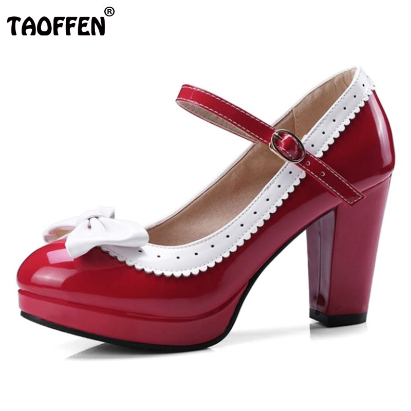 TAOFFEN Size 32-48 Sexy Women Bowtie Round Toe High Heel Shoes Women Ankle Strap Thick Heels Pumps Party Dress Women Footwears kemekiss size 31 45 women sweet high heel shoes women ruffle ankle strap thick heels pumps party daily work shoes women footwear