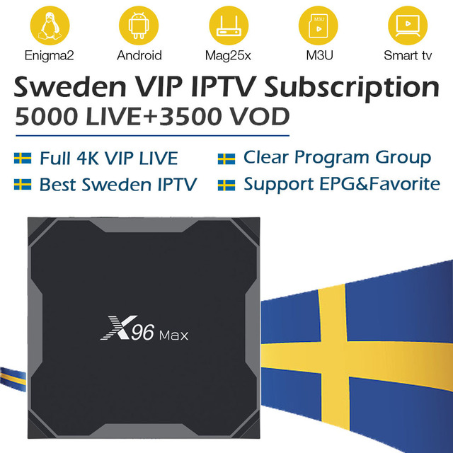 US $131 19 20% OFF|x96 max tv box android 8 1 32G 64G ROM+5000 PRO World  paytv&VOD Sweden iptv Poland Norway Finland Denmark Isreal iptv m3u box -in