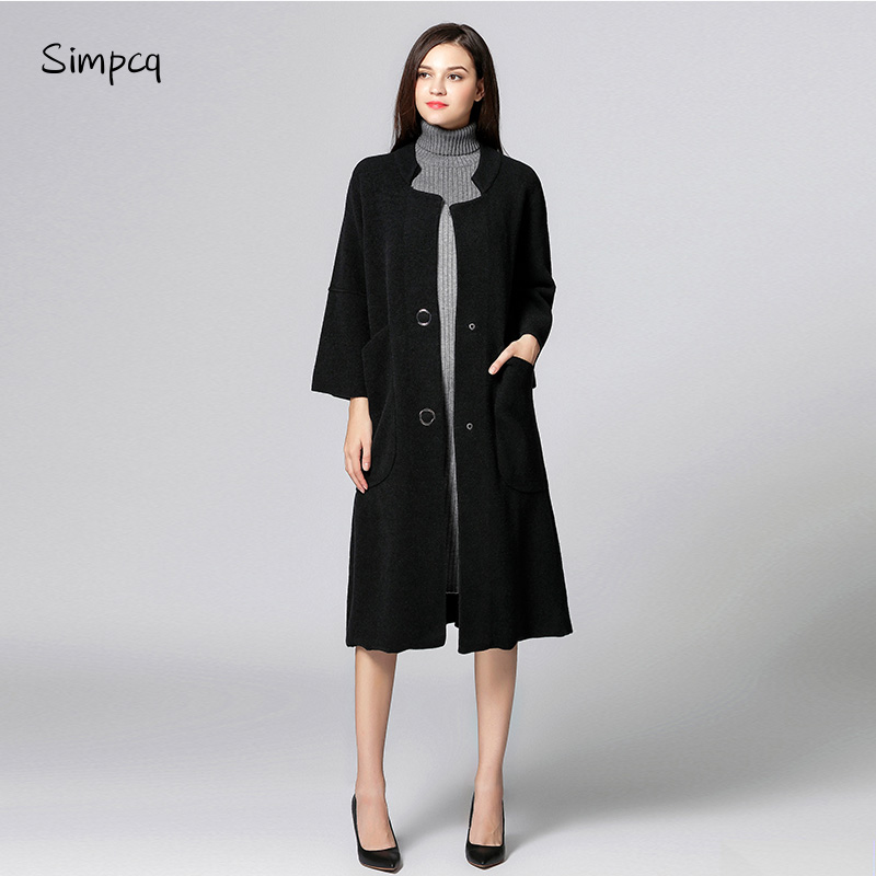 Single Breasted Wide-waisted O-neck Long Woolen Polyester Rushed Limited Casaco Feminino   Trench   Coat Charm Women Sweater