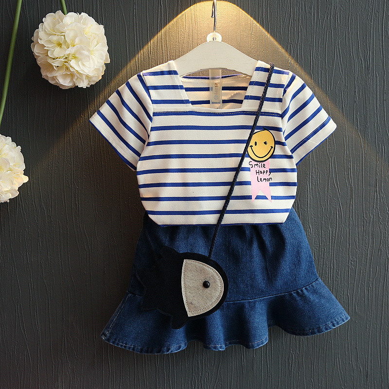 2018 New Summer Baby Girl Clothing Set 2PCS Striped Cotton Short+ Princess Denim Skirt Children Clothes Suit Toddler Girls Cloth ...