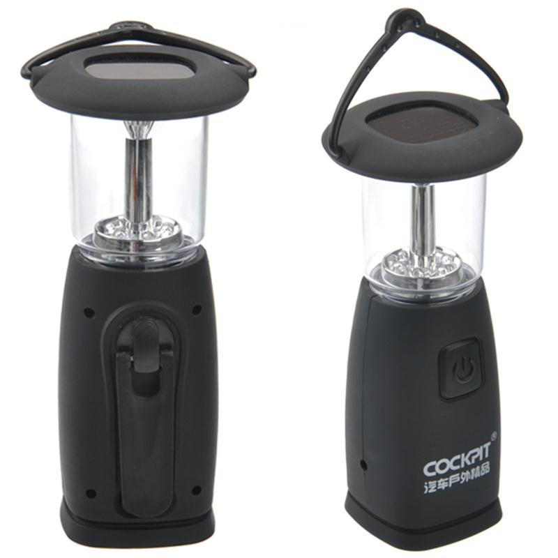 Portable Solar Powered /Hand-cranked Dynamo 2-Mode 6 LED Camping Lantern Lamp (Black)