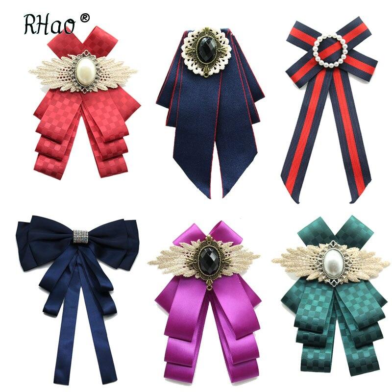 RHao Новые Броши «бант» для Для женщин шеи Рубашка с галстуком ткани, с завязками, с брошкой Винтаж ленты Броши «бант» для Для женщин Свадебные вечерние Подарочная брошь