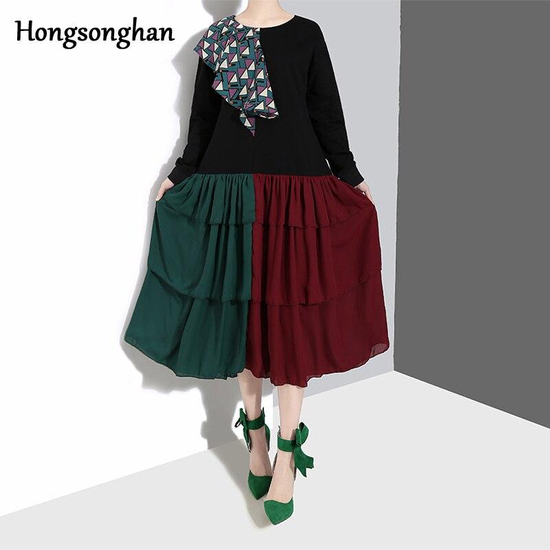 Hongsonghan 2019 nouvelle-Coréen de femmes appliques robe O-cou gâteau couche plissée et spliced patchwork couleur mousseline de soie robe marée