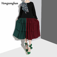 Hongsonghan 2019 new Korean women's appliques dress O neck cake layer pleated and spliced patchwork color chiffon dress tide