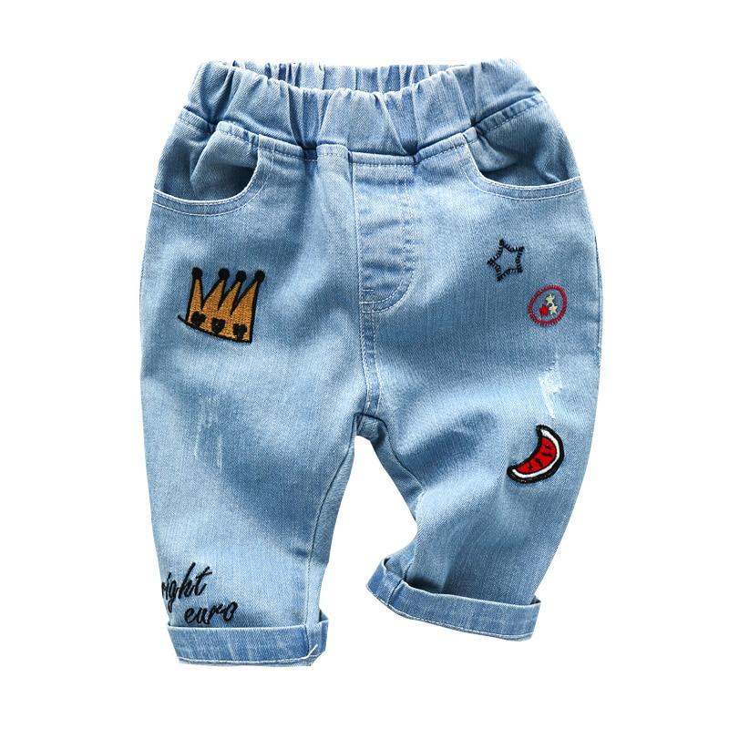 2018 Baby Jeans Sommer Baby Jungen Kleidung Denim Jeans Cartoon Print-design Kinder Kleidung Infant Jungen Hosen Baby Jeans Für 2-8 T