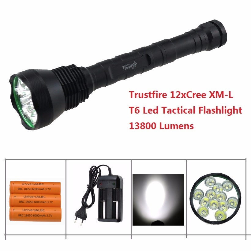 Trustfire 13800 Lumen 12x CREE XM-L T6 12T6 LED Flashlight 18650 Hunting Camp Torch Light Lamp With 3x 18650 battery + Charger led tactical flashlight 501b cree xm l2 t6 torch hunting rifle light led night light lighting 18650 battery charger box