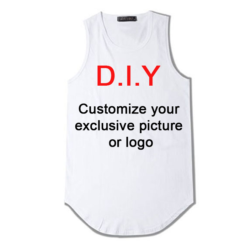 Customize Your Exclusive Design   tank     top   men Men's extended streetwear sleeveless long line hip hop Swag DIY print Vest DZS5MC