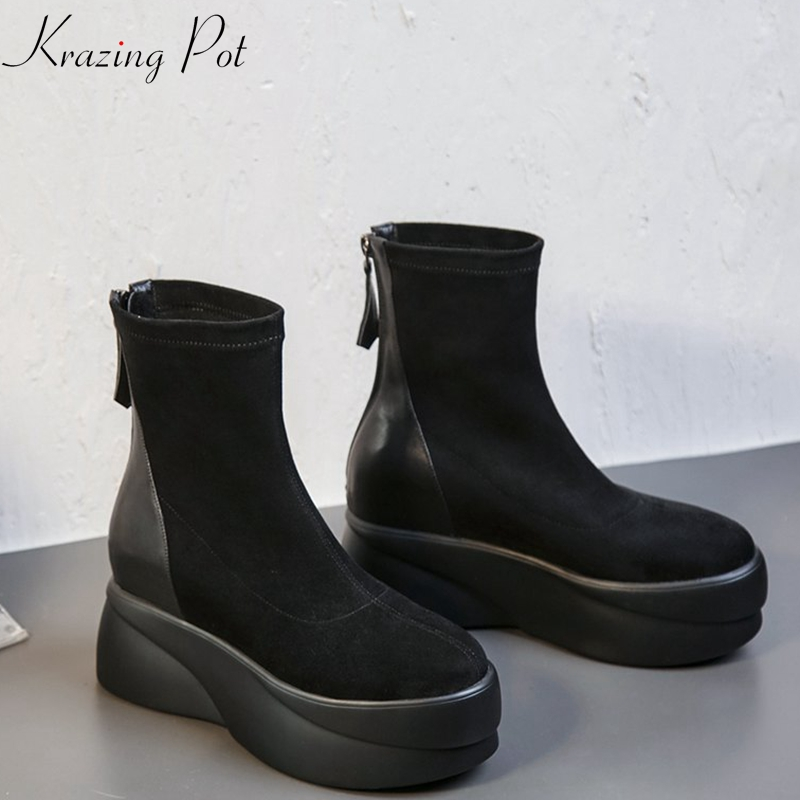 Krazing Pot Winter flat platform keep warm velvet cow leather round toe mature superstar zipper increased motorcycle boots L7f1