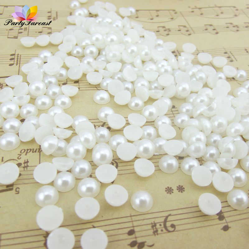 100/200Piece/Pack Diy Creamy-white Pearl Bead Multi-size Resin Half-shell Beads for Phone Nail Art Decoration Craft Supplies