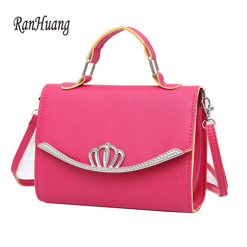 RanHuang Women Candy Color Casual Handbags PU Leather Small Shoulder Bags Female Designer Messenger Bags Blue bolsa feminina A35 1