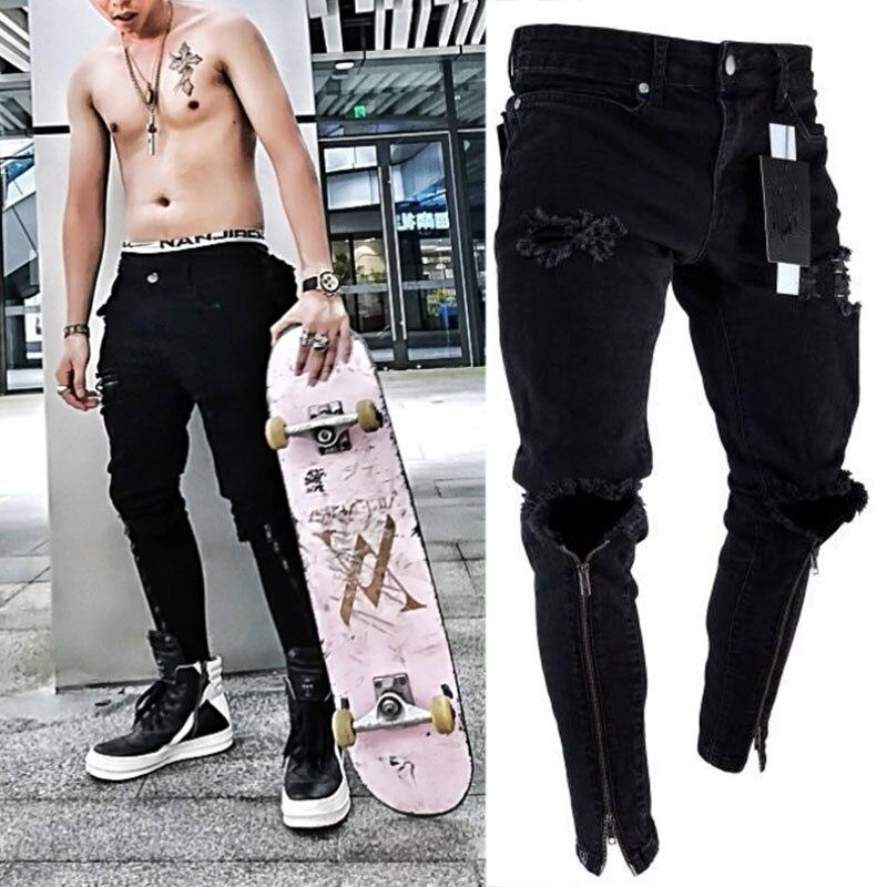 b658b026db Elegante vaqueros pantalones Biker Slim Skinny recto deshilachados Denim  Pantalones nuevos de moda Vaqueros skinny Hombre Ropa hip hop
