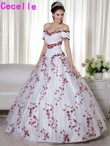 Image 5 - Wit en Donker Rode Twee Tonen Baljurk Trouwjurken Prinses Uit De Schouder Non Traditionele Vintage Kleurrijke Bruidsjurken