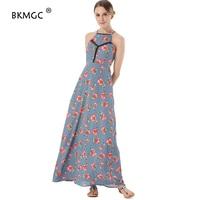 Women Dress Bandage Shoulder Flower Pattern Floral Print Cotton Womens Backless Long Dresses Gown Evening Party Long Dresses