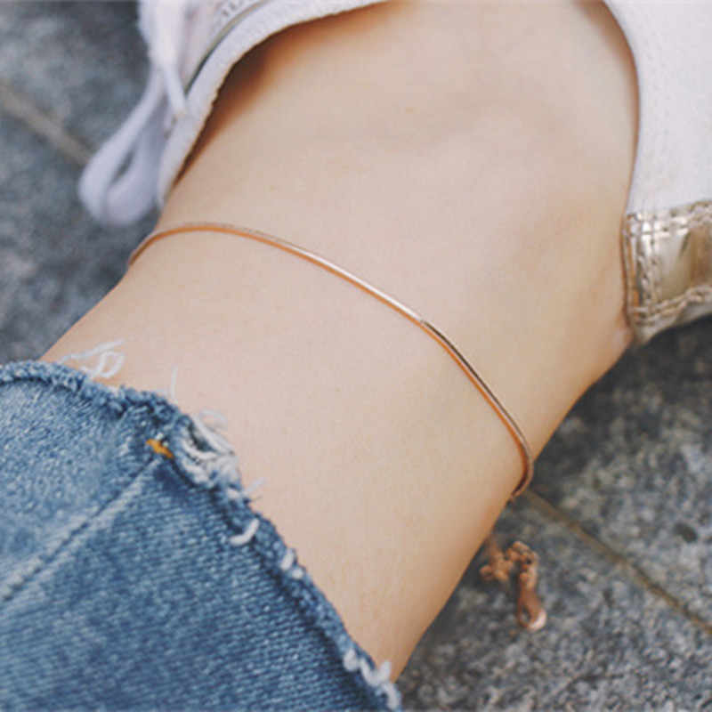 Fashion Ankle Bracelet For Women Jewelry Rose Gold Color Stainless Steel Snake Chain Bracelet Cheville Femme Beach Accessories