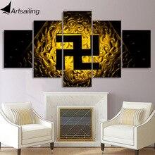 5 шт. будда картина символ Свастика живопись на холсте буддийская религия плакаты и принты настенные художественные картины для гостиной