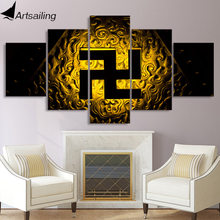 5 piece canvas painting Buddhist symbol svastika posters and prints canvas painting for living room free shipping XA2172B(China)