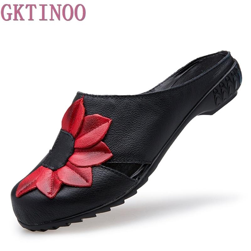 2018 Летние женские туфли Направляющие без каблука Каблучки цветок крышки пальцы Пояса из натуральной кожи женские Тапочки