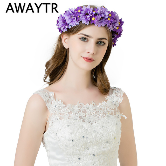 AWAYTR Ribbon Adjustable Wreath Flower Halo Floral Crown Bridal Hair Wreath Wedding Headpiece Woodland Rustic Mermaid Wreath